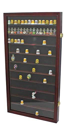 180 Thimble Display Case Wall Cabinet Shadow Box, with Glass Door (Mahogany Finish)