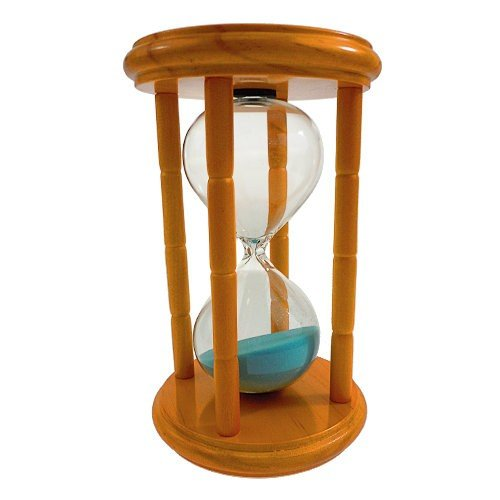 GW Schleidt Decorative 15 Minute Hourglass Sand Timer Blue Sand in Wood Natural Stand 6.5'' Tall