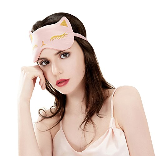 Cat Eye Mask Natural Silk Sleep Mask by Drizzle Smooth and Soft Eye Covers for Sleeping (Pink)