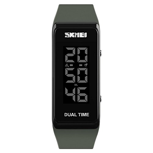 SKMEI Fashion Sports Watches Men Women Waterproof Alarm Watch Chronograph Outdoor Digital Wristwatches (Army Green) by SKMEI