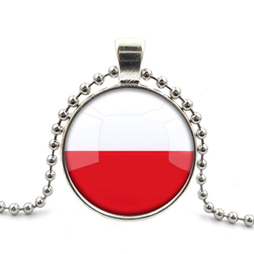 Crystal Necklace The Republic Of Poland National Flag jewelry pendant Silver Charm by Pretty Lee (Crystal Pendant Poland)