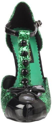 Glitter Funtasma Festive Green by Pleaser Black Women's Patent T Strap 0Ttr0wxq