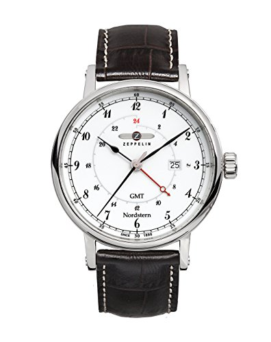 Graf Zeppelin Nordstern Series Swiss Quartz GMT Watch with Coin-Edge Case 7546-1