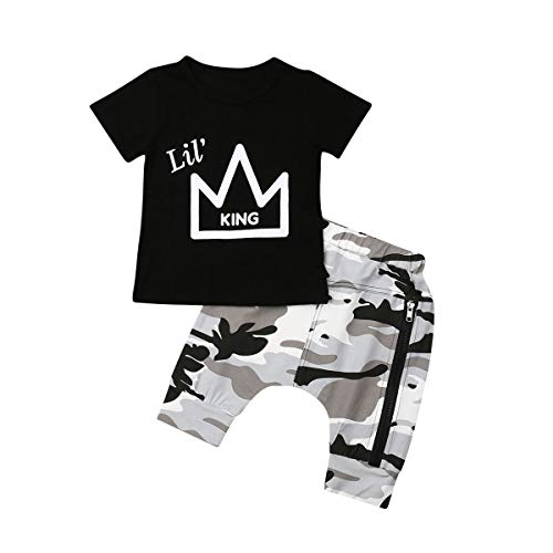 - 2PCS Toddler Baby Boys King Crown Pattern Short Sleeve T-Shirt Tops+Camouflage Short Pants Summer Outfit(Black,4-5T)