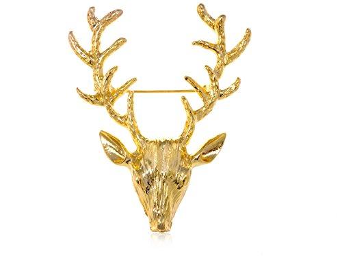 Costume Deer Stag (Alilang Golden Tone Etched Deer Reindeer Moose Stag Head Antlers Brooch)
