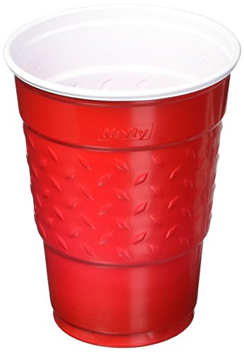 Hefty Easy Grip Disposable Plastic Party Cups, 18oz, Red, 50/Pack