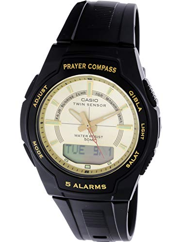 Casio Men s Core CPW500H-9AV Black Resin Quartz Watch with Gold Dial