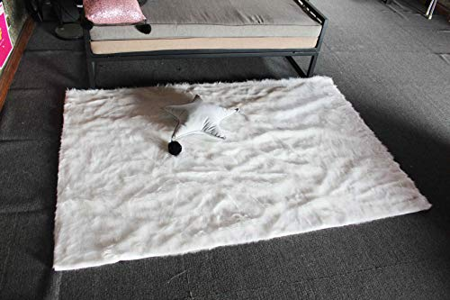Glamour White Faux Leather - Comfy Rugs Faux Sheepskin Silky Flokati Fur Area Rug 8 X 5 Modern in White