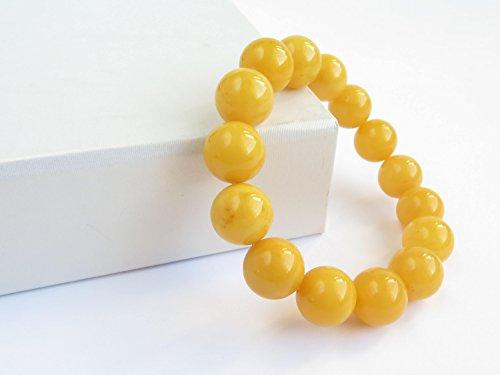 Butterscotch Amber Bracelet, Natural Baltic Amber Bracelet, Exclusive Beaded Amber Bracelet, Handmade Amber 13 mm Beads, Bernstein Armband