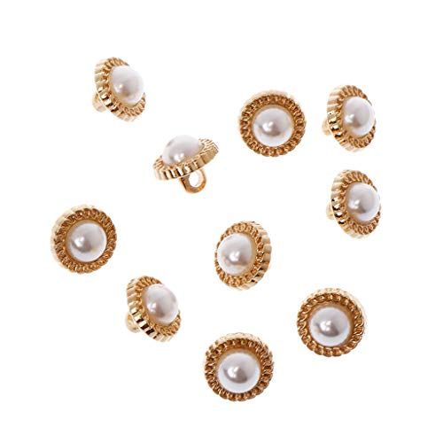 Misright 10Pcs Faux Pearl Plastic Buttons Sewing Craft Embellishments (Shank)