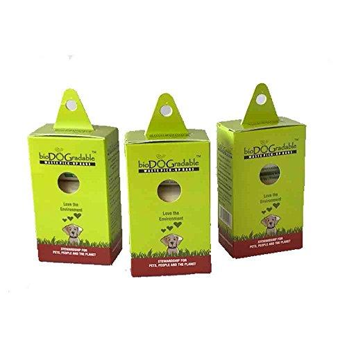 Dog Poop Waste Bags 3 Pack - 135 Total Bags - Biodegradable Compostable Leak and Tear Resistant - Vegetable Based Environmentally Friendly Pet Waste Bag