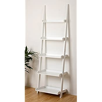 EHemco 5 Tier Leaning Ladder Book Shelf In White Finish 21 8
