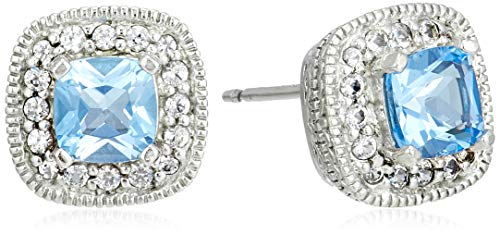 Sterling Silver Genuine Swiss Blue Topaz and Created White Sapphire Halo Cushion Stud Earrings
