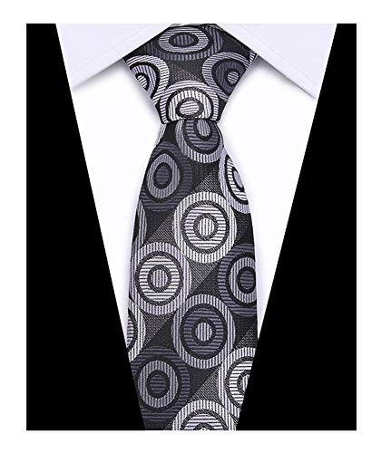 Men Dark Grey Purple Black Ties Circle Patterned Accessory Evening Suit (Black Tie Circle)