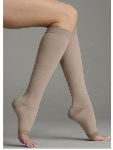 Beige I Short Juzo 2061ADSH I I Silver Soft Open Toe Knee High Short 2030 mmHg Compression Stockings