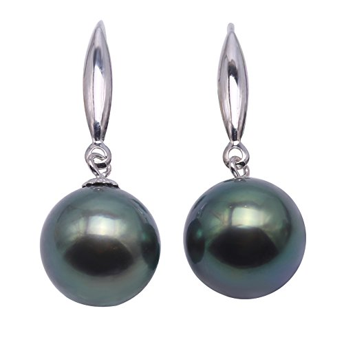 South Pearl Green Sea Round (JYX Pearl 18K Gold 9mm Peacock Green Round Tahitian Saltwater Cultured Pearl Dangle Drop Earrings)