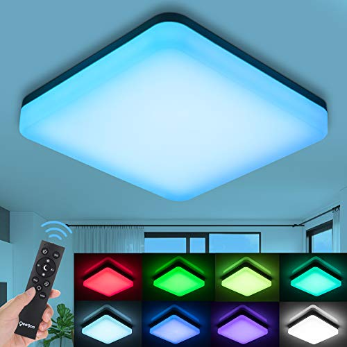 Oeegoo Led-plafondlamp, dimbaar, RGB, 24 W, wisselende kleuren, IP54 waterdicht, flikkervrije led-lamp met…