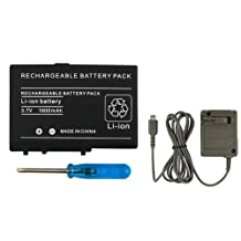 Everydaysource Gray AC Home Travel Charger+Rechargeable Battery+Tool For Nintendo DS Lite NDSL
