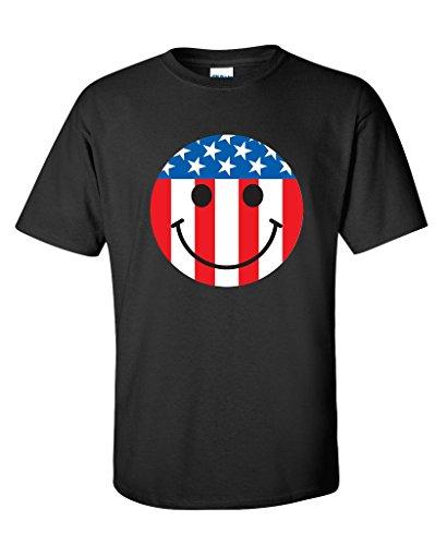 USA Flag Smiley Face Emoticon Patriotic 4th of July 2nd Amendment Funny T-Shirt XL - Emoticon Usa