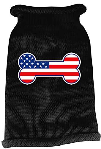 Mirage Pet Products Bone Flag USA Screen Print Knit Pet Sweater, X-Small, Black