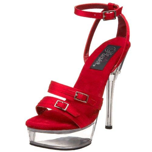Pleaser Women's Allure-655 Platform Sandal,Red Satin/Clear,12 M US ()