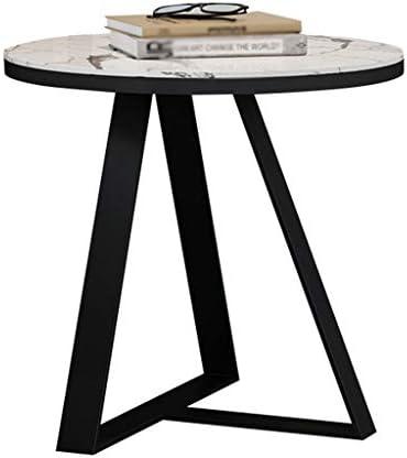 コーヒーテーブル リビングルーム用のコーヒーテーブル、白い丸い大理石のトレイソファサイドテーブルオフィスバーの寝室に適したモダンな小さなエンドテーブル、50×45cm KWX-23