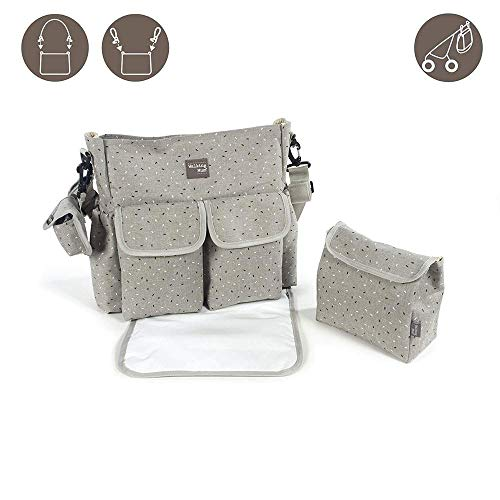 Walking Mum Stars Be Grey 359210 Bolsa Pañales, 38 x 34 x 15 cm, Gris