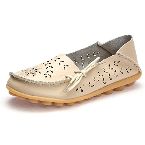 BTDREAM Women's Leather Slip-on Loafers Moccasins Casual Flat Driving Boat Shoes with Memory Foam Insole 001-beige