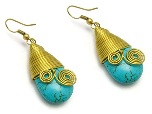 CHADADA CHADADA Womens Jewelry Vintage Bohemian Tribal Brass Gemstone Teardrop Dangle Earrings (Turquoise), ET18 price tips cheap