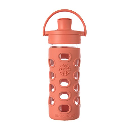 Lifefactory 12-Ounce BPA-Free Glass Water Bottle with Active Flip Cap and Silicone Sleeve, Persimmon