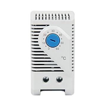 Termostato mecánico ajustable Langir, pequeño, compacto; controlador de temperatura de 0 a 60 grados, para armario: Amazon.es: Bricolaje y herramientas