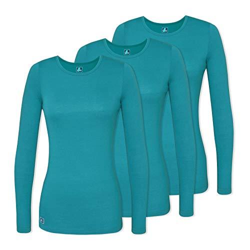 (Adar 3 Pack Women's Comfort Long Sleeve T-Shirt/Underscrub Tee - 2903 - Teal Green - XL)