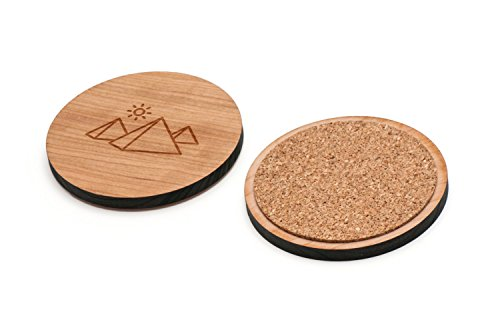 WOODEN ACCESSORIES CO Wooden Coaster Set With Laser Engraved Pyramid Design - Set of 4 Laser Cut Coasters - Cherry Wood Round Wooden Coasters - Made In The USA