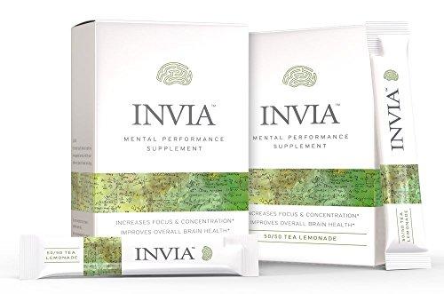 INVIA Life Mental Performance Supplement Drink, Cognizin (Citocoline) Brain Health, Nootropic, Boosts Mental Performance, Enhances Focus, Brain Boost Supplement - Lemon Tea 30 Pack