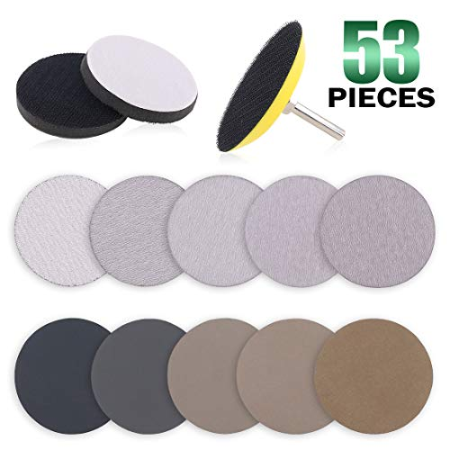 (Keadic 50pcs 3 Inch Dry & Wet/Dry Sanding Discs Assortment Kit Aluminum Oxide Multiple Grits 80-7000, with 1/4 inch Shank Backing Pad and Soft Foam Buffering Pad for Hook & Loop Grinding Disc)