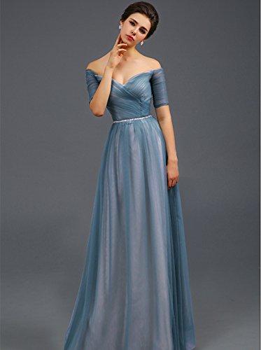 Abendkleid Bright Great Festkleid Damen Ärmel Blau kurzer Shoulder CL0019 Off trägerlos tBxnpqWx