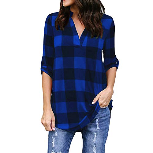Blouses for Womens, FORUU Ladies Sales 2018 Winter Warm Under 10 Best Gift for Girlfriend Women Roll-up Long Sleeve Plaid V Neck Office Work Tops T-Shirts