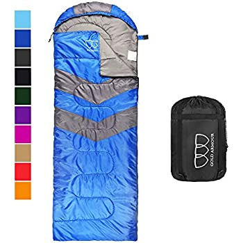 Camping and Backpacking Red /& Blue Warm and Cold Weather Compact and Lightweight Sleeping Bags for Girls and Boys 3 Season Perfect for Youth Outbound Kids Sleeping Bag