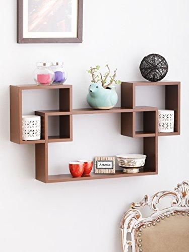 Artesia Trendy Brown Wooden Interlocked Wall Shelves