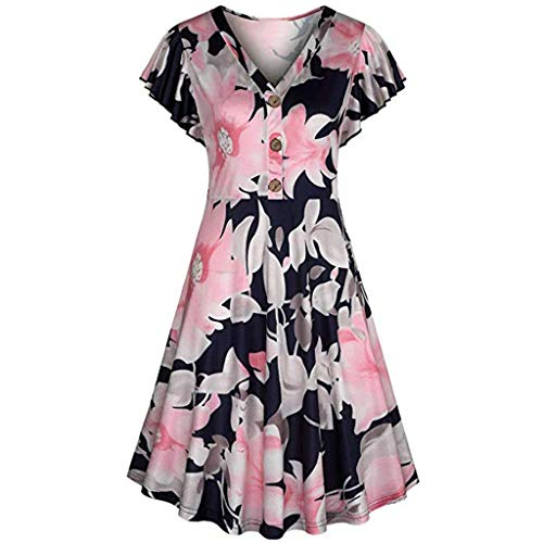 BB67 Women Damask Printing Short Sleeve V-Neck Button Evening Party Mini Club Dress Beach Dress ()