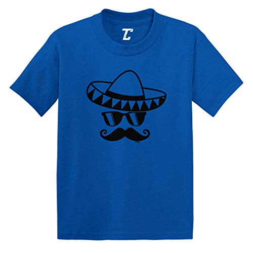 Sombrero & Mustache - Mexico Mexican Infant/Toddler Cotton Jersey T-Shirt (Royal Blue, 18 Months) ()