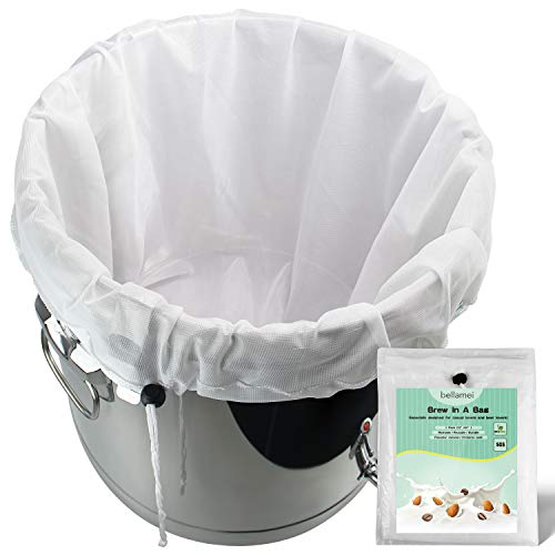"""Bellamei Brew Bags Reusable 2 Pack 200 Micron Fine Mesh Bag for Fruit Cider Apple Grape Wine Press Drawstring Straining Brew in a Bag (2 pack-22""""×26"""")"""