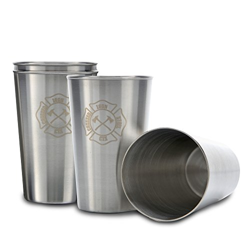 Stainless Steel Cups- 15oz Drinking Glasses-Set of 4 Tumblers-Premium 304 Silver Polished Metal -BPA Free-Stackable-Reusable-Holds Cold Beverages For Tea Water Wine Beer