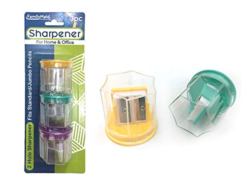 Sharpeners 3 pcs 2 Blade with Cont, Case of 144 by DollarItemDirect