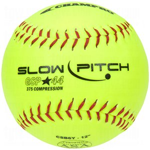 SChampro Game ASA Slow Pitch Softball, Poly Synthetic Cover, Red Stiches (Optic Yellow, 11-Inch) by CHAMPRO
