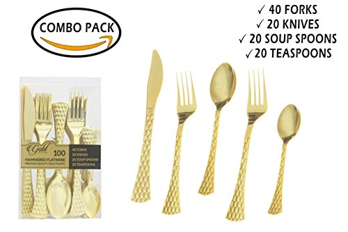 Gold Plastic Silverware Set | Assorted Solid Plastic Cutlery Disposable Flatware | Perfect for Weddings, Dining and Parties | Includes 40 Forks, 20 Soup Spoons, 20 Teaspoons & 20 Knives | 100 Count 40 Assorted Teas