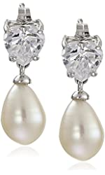 Platinum-Plated Sterling Silver Heart Cubic Zirconia with Pear Freshwater Cultured Pearl Drop Earrings