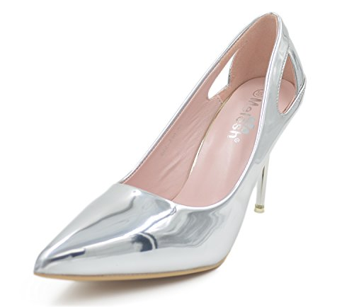 Pointed Toe Very High Heels (Melesh Wedding Dress Pumps Shoes Bridal Women Pointed Toe High Heels Glazed Leather (6 B(M) USD - EU37, Silver))