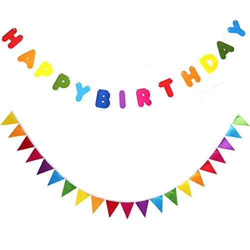 Monord Rainbow Felt Happy Birthday Banner and Rainbow Felt Bunting Garland for Rainbow Birthday Party Decorations.