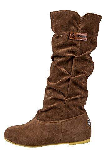 TOOGOO (R)Neue Fashion mittler breit Wade latschig beilaeufig Kniehohe Stiefel braun 39